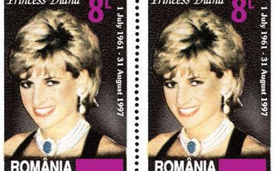 Surimpression du timbre Princesse Diana par Romfilatelia